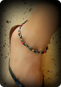 Red and tan Anklet