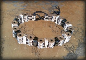 Men's Bold Bracelet: Double Chain in Silver and Black