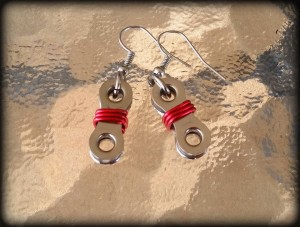 Red with silver hooks