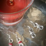 Red and Sliver Earrings
